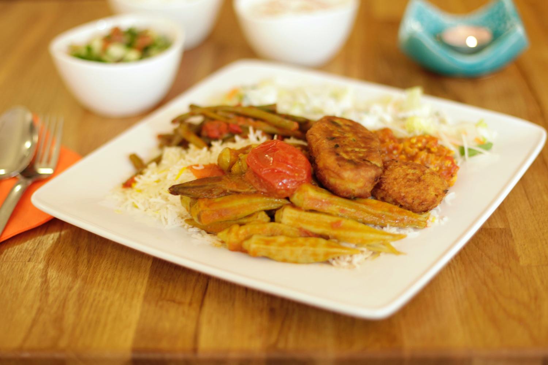 Vegetarisches Menü aus der Theke
